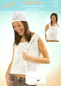 Wendy Supreme Cotton Crochet Pattern 5045 Top, Beanie, Bag