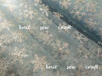 Blue Organza Fabric With Silver Snowflakes Sold Per Metre