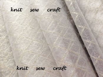 White Organza Fabric Silver Diamonds Pattern Per Half Metre