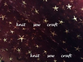 sheer organza gold foil stars print maroon red fabric x 1m Club Green