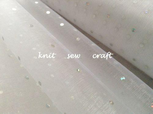 Silver Glitter Dots Snow Sheer White Organza Per Metre