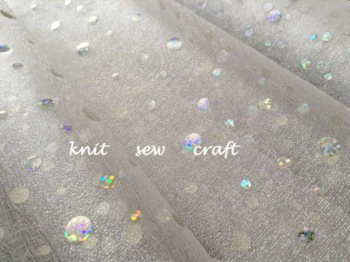 White Organza Snow Sheer Silver Glitter Dots Holographic Fabric
