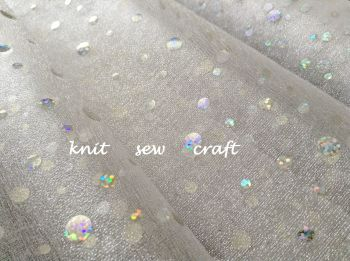 Holographic Dots Sheer Organza Fabric White Silver Oaktree Eleganza