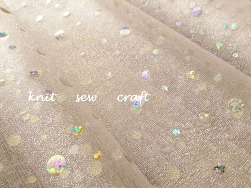 Ivory Organza Silver Glitter Dots Snow Sheer Holographic Fabric
