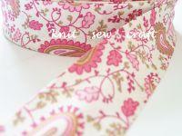 paisley print fabric trim pink