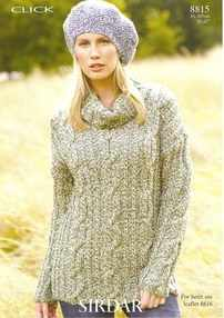 Sirdar Click Chunky Knitting Pattern 8815 Ladies Cable Sweater