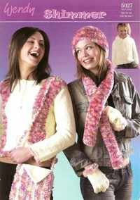 Wendy Shimmer Knitting Pattern 5027 Jacket, Hat, Scarf, Bag