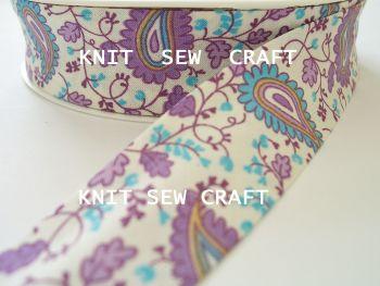 purple paisley printed cotton bias binding tape 25mm x 25mtr