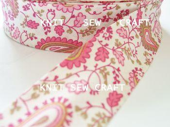 pink paisley printed cotton bias binding tape 25mm x 25mtr