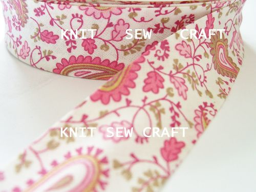 pink paisley printed cotton bias binding tape 25mm x 25mtr