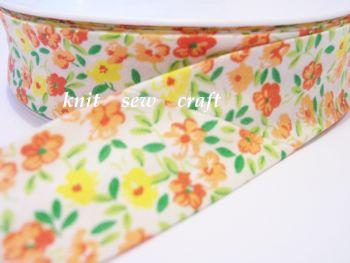 white orange yellow flower pattern cotton bias 25mm x 3 metres 2202