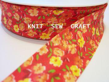 red orange yellow flower pattern cotton bias 25mm x 3 metres 2304