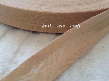 beige bias binding 100% cotton 15mm fabric edging trim 33 metres