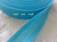 turquoise blue bias binding tape 1 metre x 25mm 100% cotton fabric