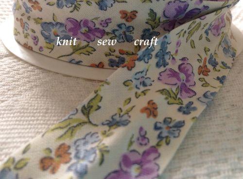 floral print cotton tape cream blue lilac flowers green leaf bias 1178