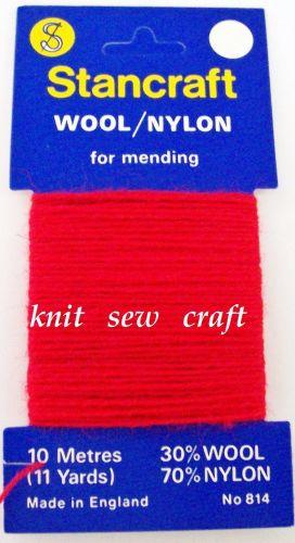 10 Metres of Stancraft Sock Darning Wool: RED