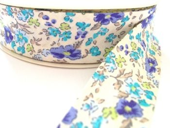 blue lilac green flower pale ivory cotton bias binding 25mm x 3m 1177