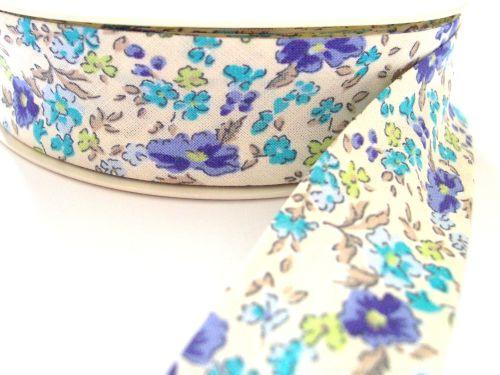 blue lilac green flower pale ivory cotton bias binding 25mm x 3m 1177