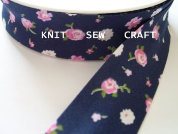 blue multicoloured flower pattern cotton bias binding 25mm x 25mtr