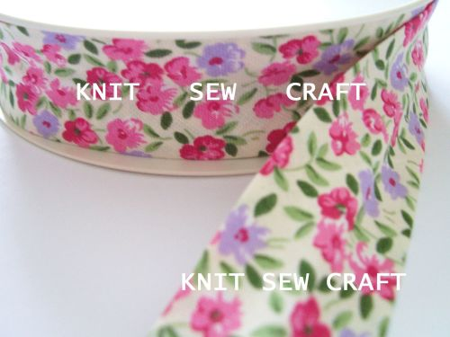 cream cotton sewing tape with pink and lilac flower print  883-2199