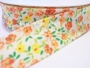 flower patterned bias 25mm orange yellow white floral print 2202 1 mtr