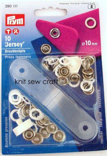 Prym Jersey Ring Non Sew White Press Fasteners 390111