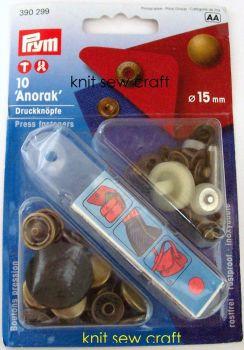 Prym Press Snap Fasteners 15mm Anorak 390299 Antique Brass