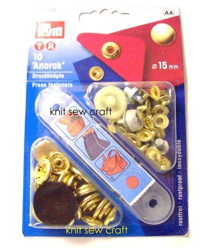 Prym Press Snap Fasteners 15mm Anorak 390314 Gold