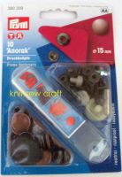 Prym Press Snap Fasteners 15mm Anorak 390309 ANTIQUE COPPER