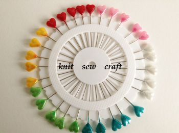Extra Long Sewing Pins 30 Multi Colour Heart Shaped Head Pin Wheel