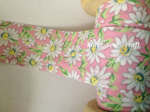 bias binding flower pattern 25mm pink white daisy floral cotton 2327