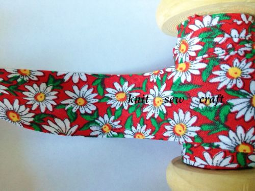 25mm wide daisies patterned red sewing tape - 883-2329