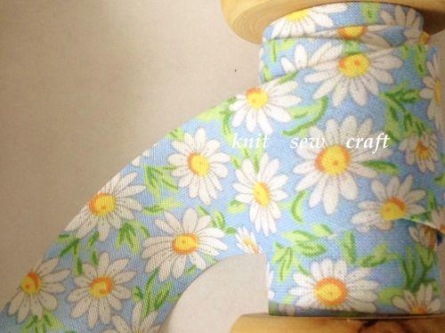 blue daisy flower cotton bias binding 25mm x 3mtr 883/2328