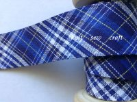 Royal Blue Tartan Bias Navy White Yellow Check Print Sewing Tape 1327