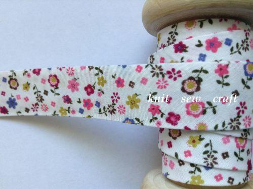 pink flower pattern bias binding fabric 18mm wide