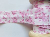 25mm Wide Flower Patterned Cotton Bias White Pink Floral Print 3547