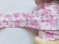 pink fuschia flower pattern 25mm cotton bias binding 3 metres 3547