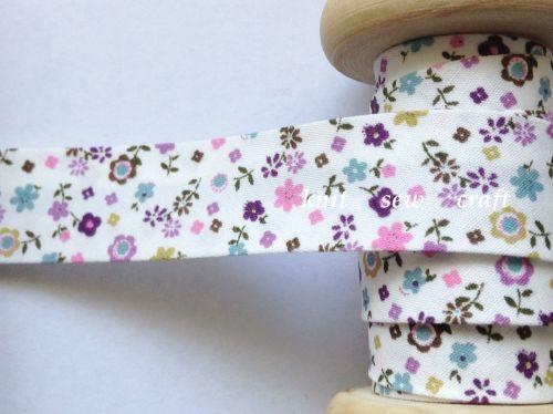 18mm wide flower patterned bias fabric 25 metre reel