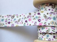 bias binding with pink lilac and blue flowers 18mm wide