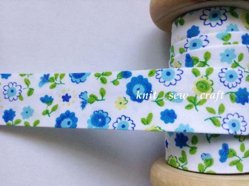 turquoise blue flower print cotton bias 18mm x 25 mtr 7600/026