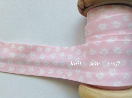 flower patterned bias baby pink white floral print 9774 25mm 1 metre