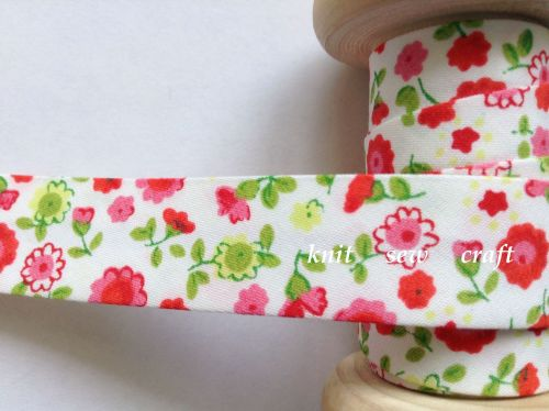flower pattern bias fabric 18mm pink red yellow floral print 033 1 mtr
