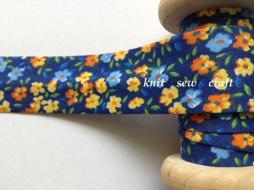 navy cotton bias orange yellow blue flower pattern 3 metres 883/2203