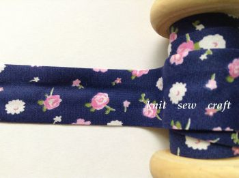 25mm wide navy blue flower pattern cotton bias pink white floral 2322