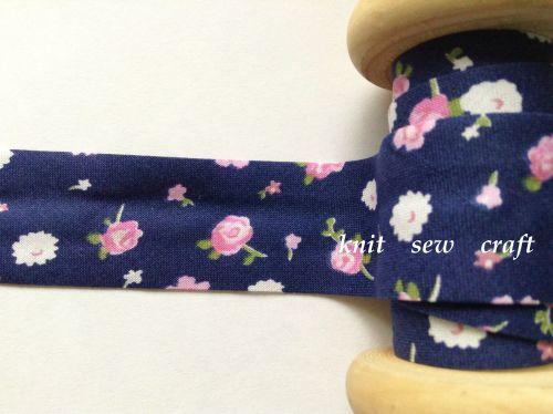 25mm wide navy blue flower pattern cotton bias pink white floral 2322