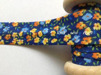 navy flower pattern bias 25mm orange blue yellow floral 1 metre 2203