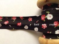 25mm wide black flower pattern cotton bias pink red white floral 2326