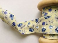 floral print cotton tape cream blue flowers grey leaf sewing bias 2334