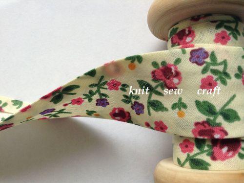 cream pink lilac flower print cotton bias binding 25mm x 3 metres 2333