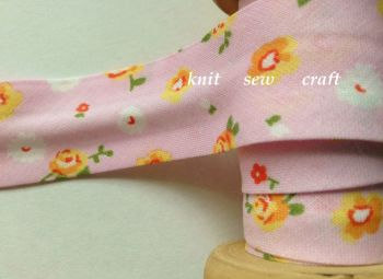 pink orange white yellow flower print cotton bias 25mm x 3 mtr 2320